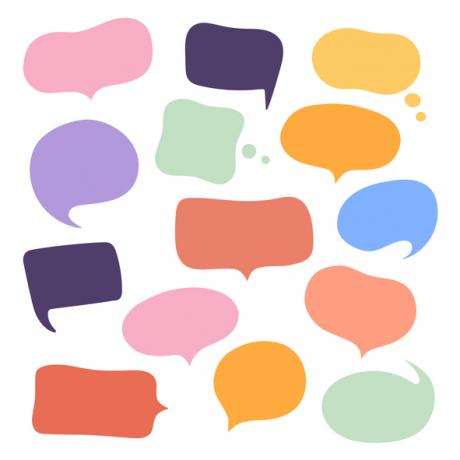 colorful speech bubbles. COVID-19 in America by Jill Grunewald | Healthful Elements